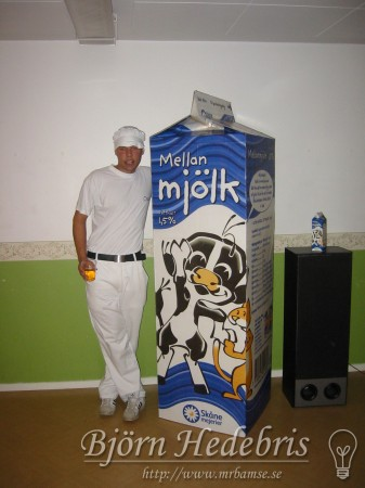 maskerad, mjölk, mjölkpaket, spill, etikett, papp, xeikon, digitalutskrift