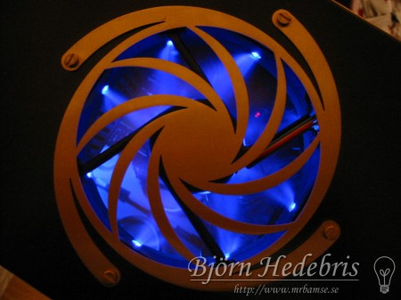 120mm fläkt med blåa lysdioder + ascoolt fläktgaller