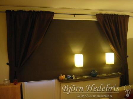 Projektortavla, projektorduk, träram, hemmabio, spotlight, taklampa, BenQ 8720