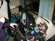 Fullt med barnvagnar på tåget